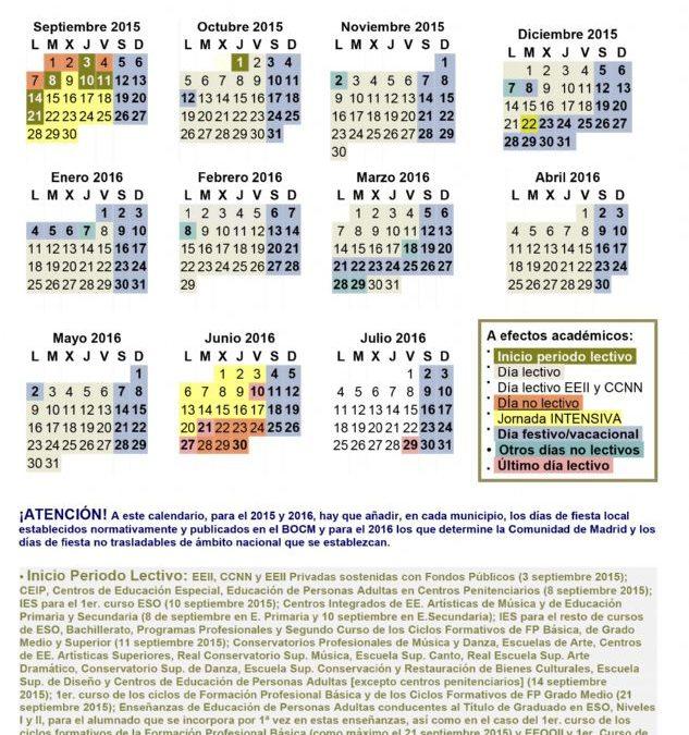 Calendario Escolar 2019 Madrid.Calendario Escolar 2015 2016 Ayuntamiento De Navalafuente